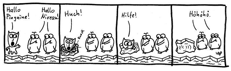 Hallo Pinguine! Hallo Niveau! Huch! Hilfe! Höhöhö.