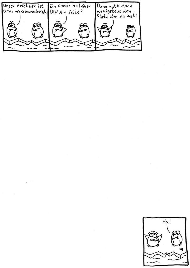 Unser Zeichner ist total verschwenderisch. Ein Comic auf einer DIN A 4 Seite? Dann nutz doch wenigstens den Platz den du hast! Ha!