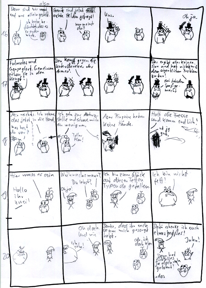 Weihnachtscomic 2008 Skizze